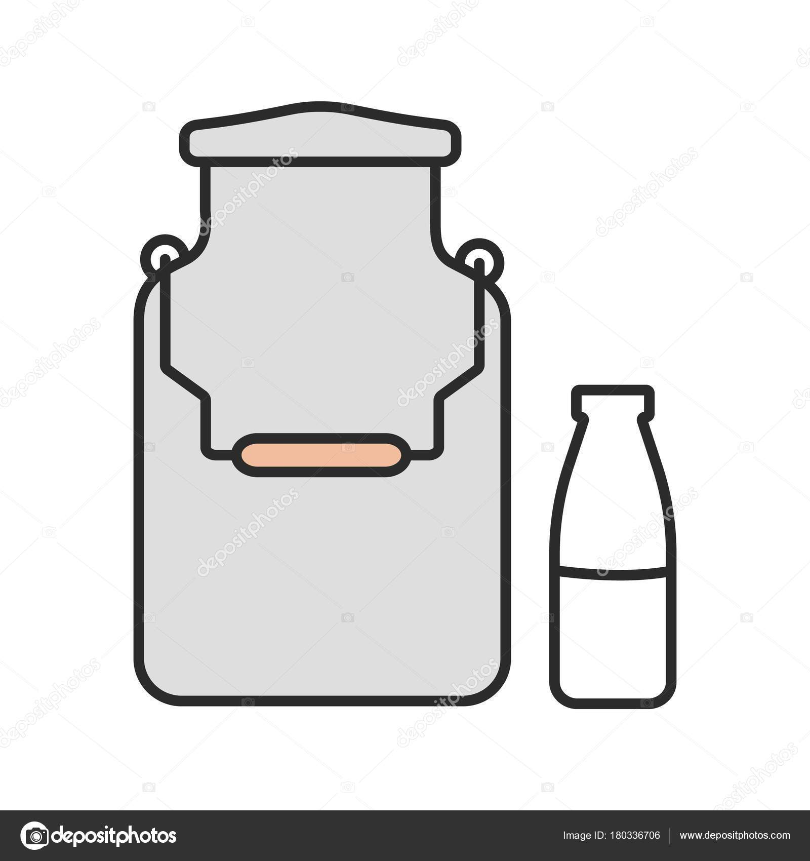 Milk can clipart svg black and white library Milk can and bottle color icon » Clipart Portal svg black and white library