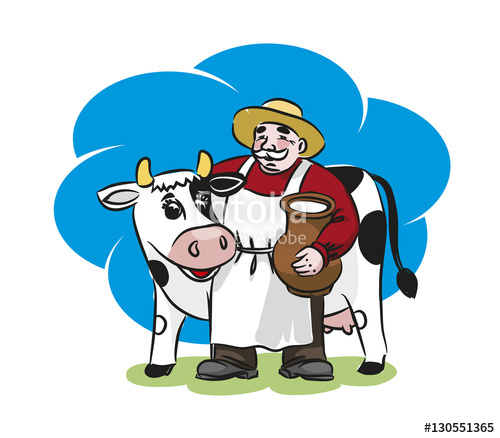 Milkman clipart jpg freeuse stock The milkman and a cow. A pitcher of milk\