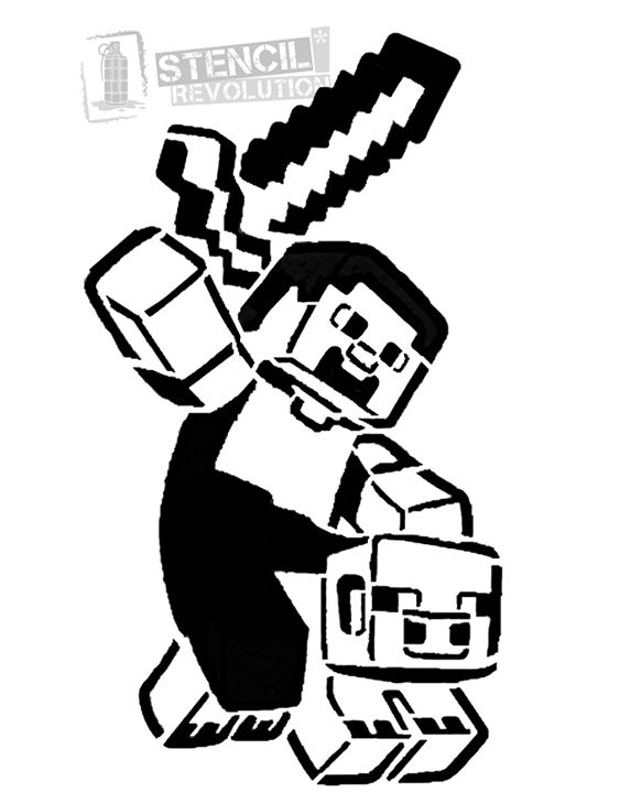Minecraft clipart black and white vector black and white download Minecraft Stencils | Minecraft | Minecraft clipart ... vector black and white download