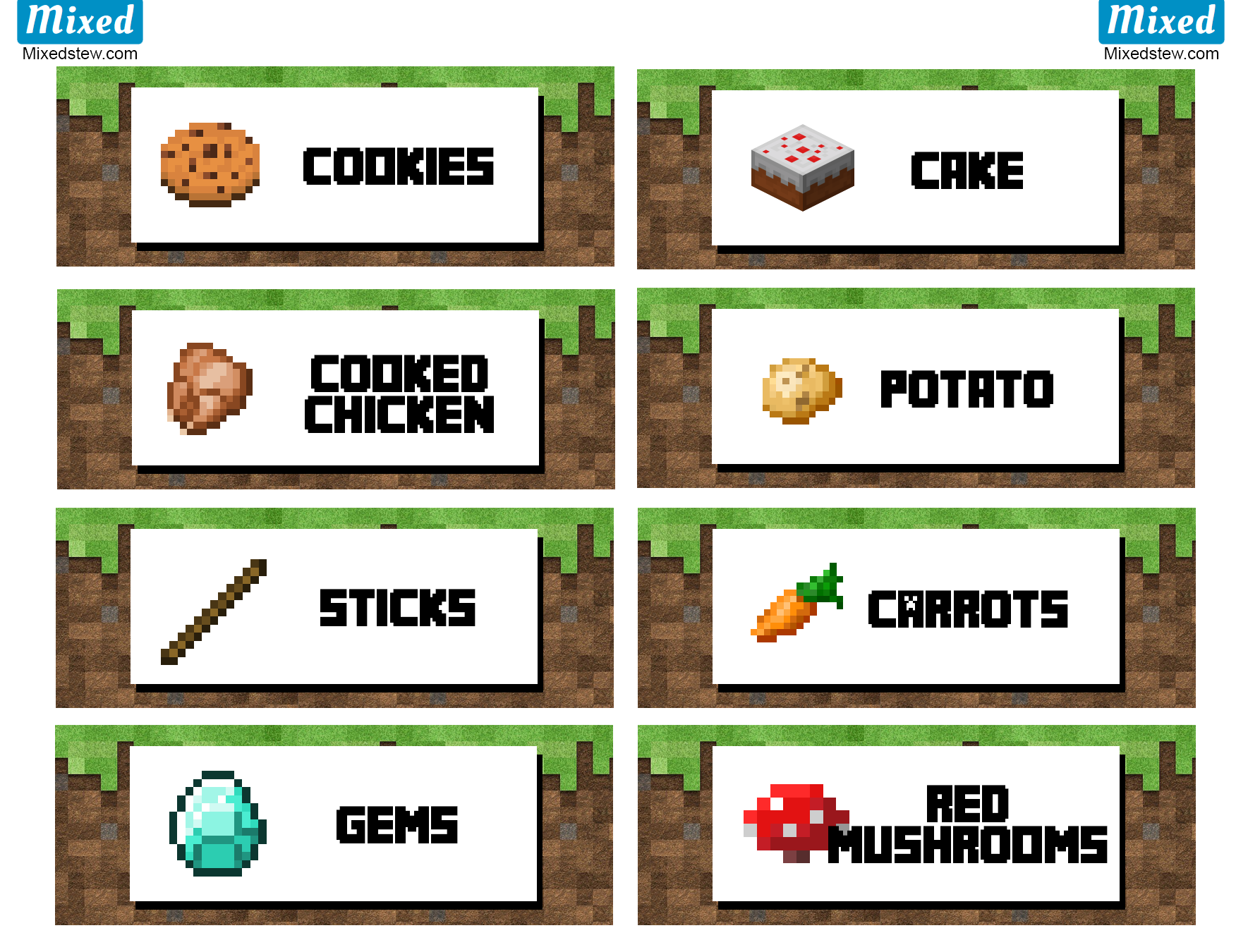 Minecraft fish clipart png download Ultimate Minecraft party printable food labels - Mixedstew.com ... png download