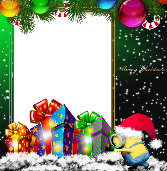 Minions christmas clipart clipart royalty free library Merry Christmas Green PNG Minion Photo Frame | Christmas ... clipart royalty free library