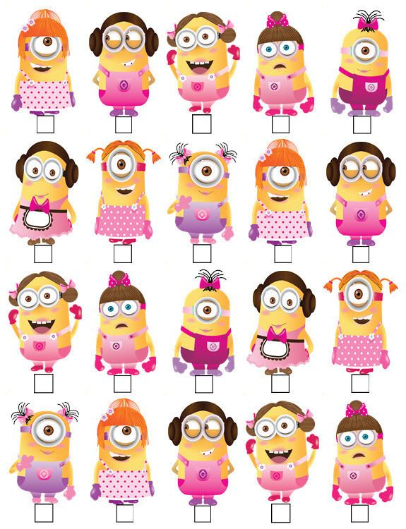 Minion cupcake clipart png freeuse stock 20 x MINIONS GIRL DESPICABLE ME STAND UP EDIBLE WAFER CARD ... png freeuse stock