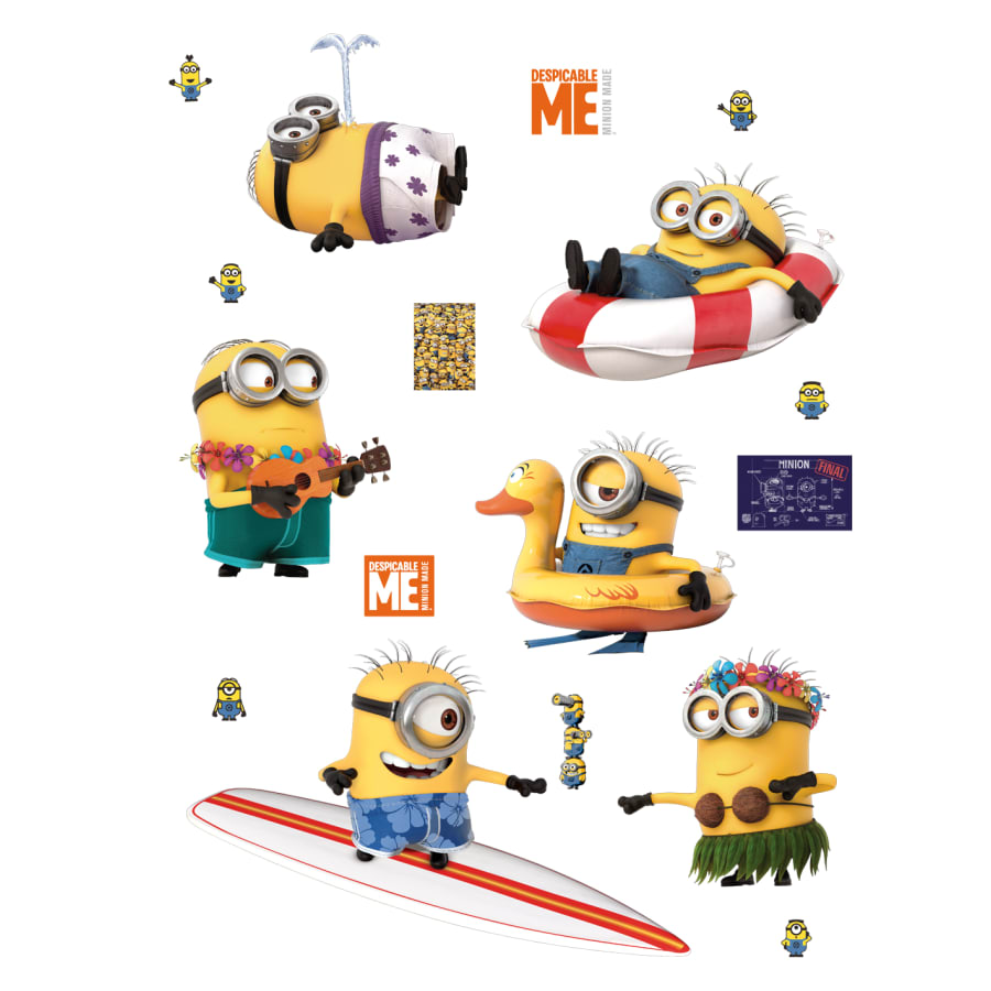 Minion single hand cutout clipart jpg black and white library Minions: Beach Collection - X-Large Officially Licensed Removable Wall  Decals jpg black and white library