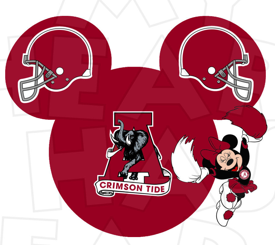 Minnie mouse cheerleader clipart graphic black and white Alabama crimson tide football with minnie mouse cheerleader ... graphic black and white
