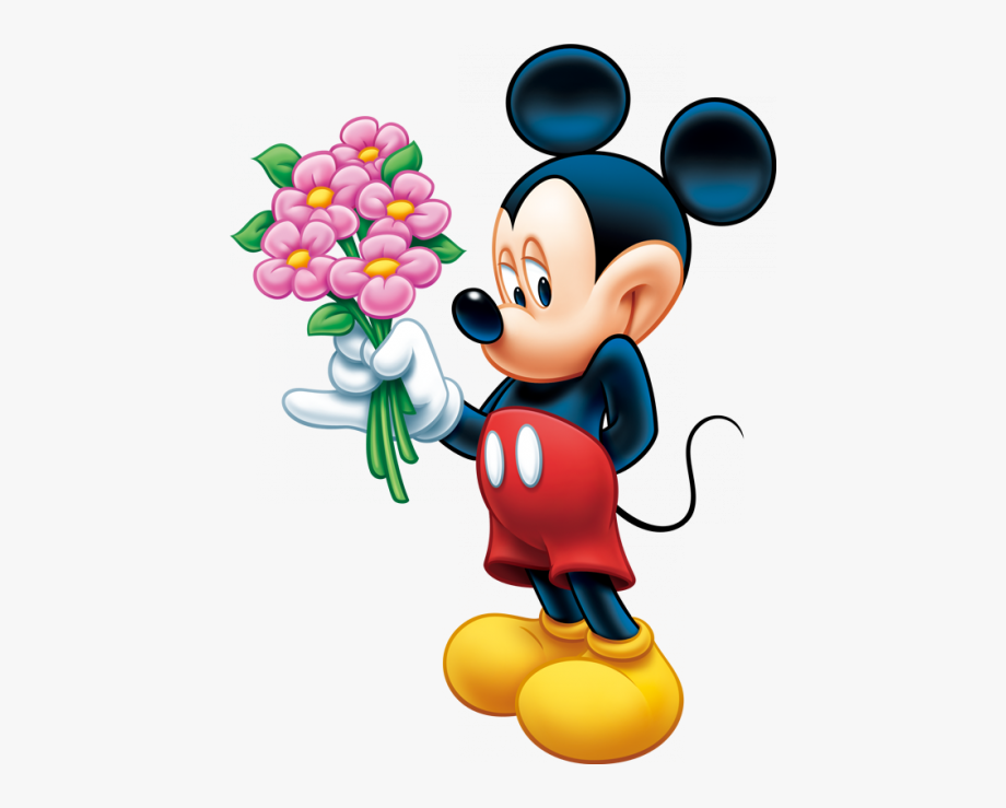 Minnie mouse clipart flowers black and white library Happy Thursday Clipart - Mickey Mouse With Flowers #1866391 - Free ... black and white library
