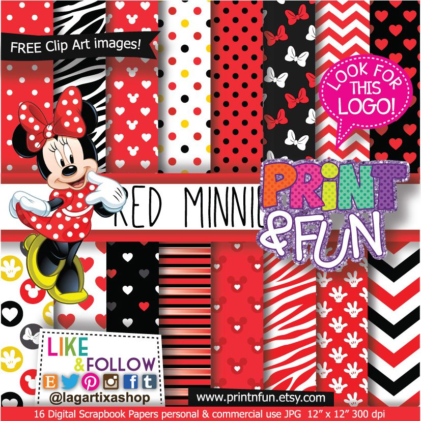Minnie mouse clipart free 300 x 150 pixel svg black and white Minnie Mouse Classic Red Digital Paper Patterns and FREE Clip art ... svg black and white