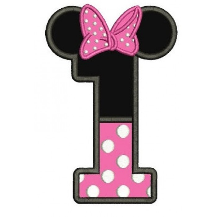 Minnie mouse with one hand out clipart clip art freeuse library Number One First Birthday Girl Minnie Mouse Ears Applique ... clip art freeuse library