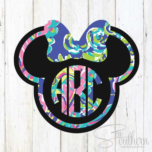Minnie outline with monogram in middle clipart vector download Lilly Minnie Mouse Outline Monogram Decal vector download