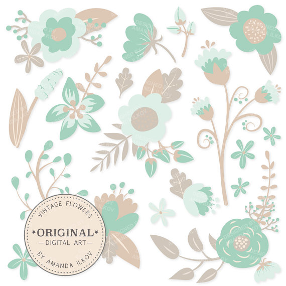 Mint flower clipart svg royalty free stock Premium Mint Floral Clipart & Flower Vectors Mint Green svg royalty free stock