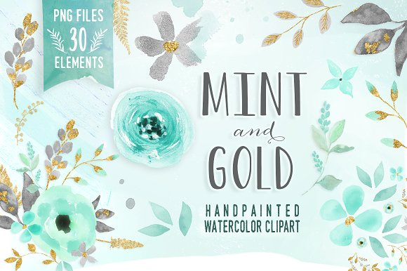 Mint flower clipart svg royalty free stock Mint & Gold - flower clipart ~ Illustrations on Creative Market svg royalty free stock