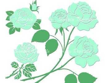 Mint flower clipart jpg black and white download Mint flowers clipart | Etsy jpg black and white download