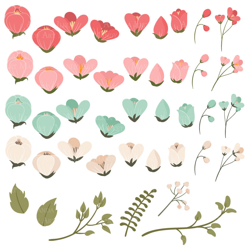 Mint flower clipart png black and white Flower Clipart in Mint & Coral – Mandy Art Market png black and white