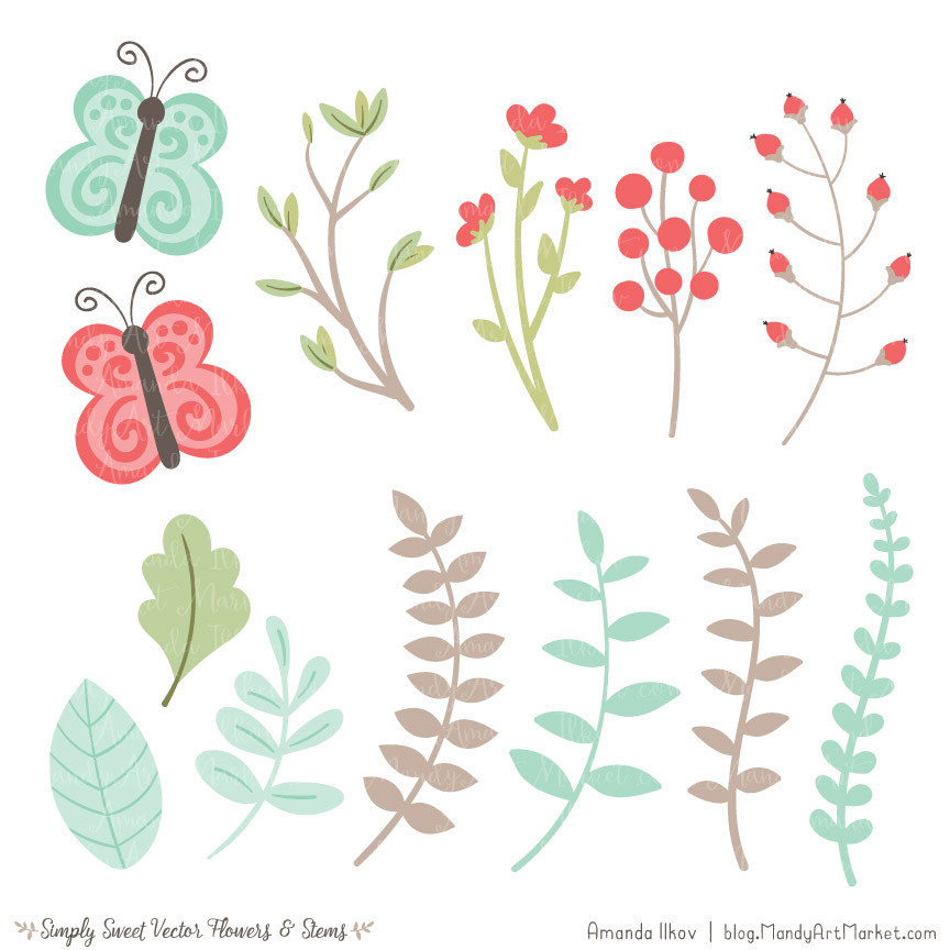 Mint flower clipart svg free library Cute Flowers Clipart in Mint & Coral – Mandy Art Market svg free library