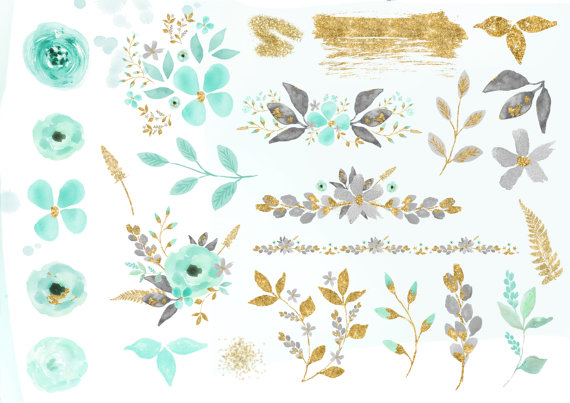 Mint flower clipart graphic Mint and Gold Watercolor Mint Flower Clipart Wedding floral graphic