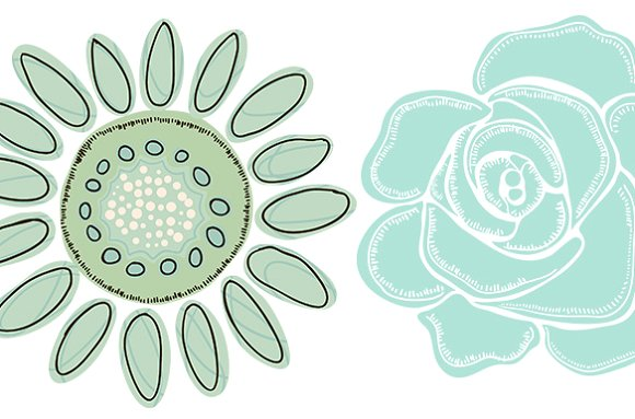 Mint flower clipart clipart royalty free library Mint Green Flower ClipArt - Clip Art ~ Illustrations on Creative ... clipart royalty free library