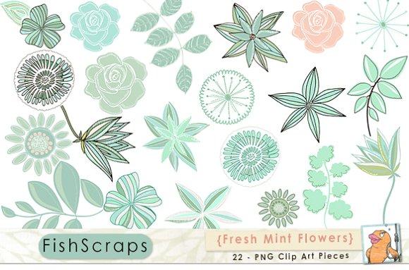 Mint flower clipart jpg library Mint Green Flower ClipArt - Clip Art ~ Illustrations on Creative ... jpg library