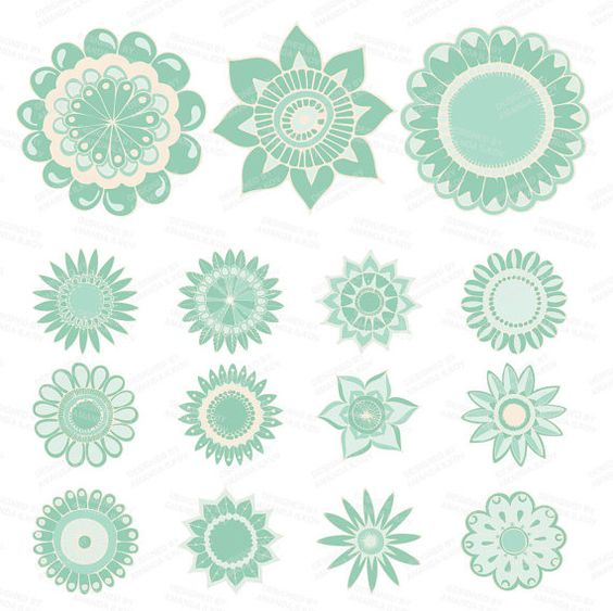 Mint flower clipart png free Professional Mint Green Flowers Clipart & Vectors - Floral Clip ... png free