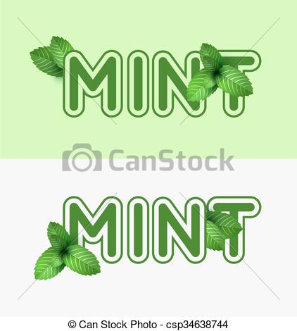 Mint grass clipart clipart black and white library EPS Vector of Leaf of fresh mint. Fresh mint banner design. Bunch ... clipart black and white library