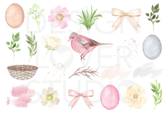Mint grass clipart image royalty free download Watercolor Cute Easter design clipart mint pink watercolor image royalty free download