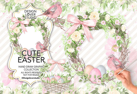 Mint grass clipart picture library Watercolor Cute Easter design clipart mint pink watercolor picture library