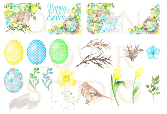Mint grass clipart png transparent Watercolor Happy Easter Yellow design clipart by designloverstudio png transparent