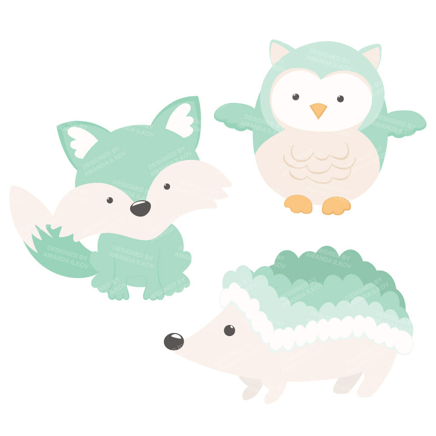 Mint green clipart banner library library Woodland Animals Clipart in Mint – Mandy Art Market banner library library