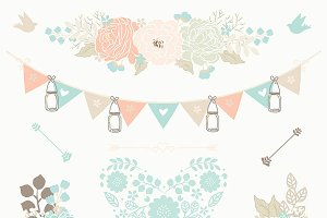 Mint green clipart banner black and white download Mint green flower clipart Photos, Graphics, Fonts, Themes ... banner black and white download