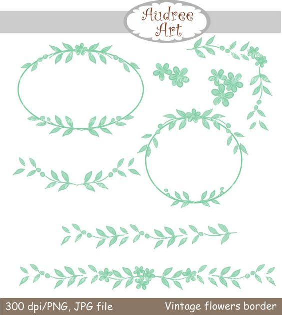 Mint green clipart svg free download Digital clip art,Vintage flowers border and frame,mint green ... svg free download