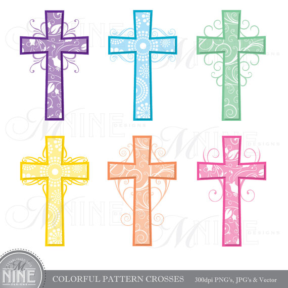 Cross Clip Art: COLORFUL PATTERN CROSSES Clipart Vector Art jpg transparent