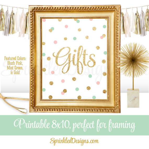 Mint green gift clipart vector free stock Gift Table Party Sign for Birthday or Baby Shower Gifts - Blush ... vector free stock