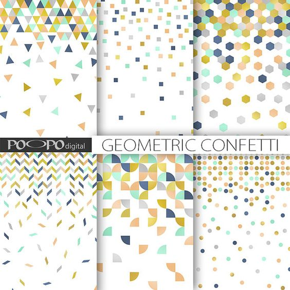 Mint green gift clipart graphic stock Confetti geometric digital paper scrapbooking pattern modern ... graphic stock