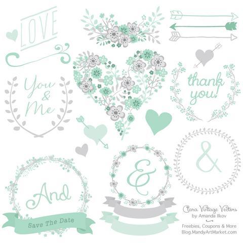 Mint green heart clipart clip art freeuse Mint Green Color Palette – Mandy Art Market clip art freeuse