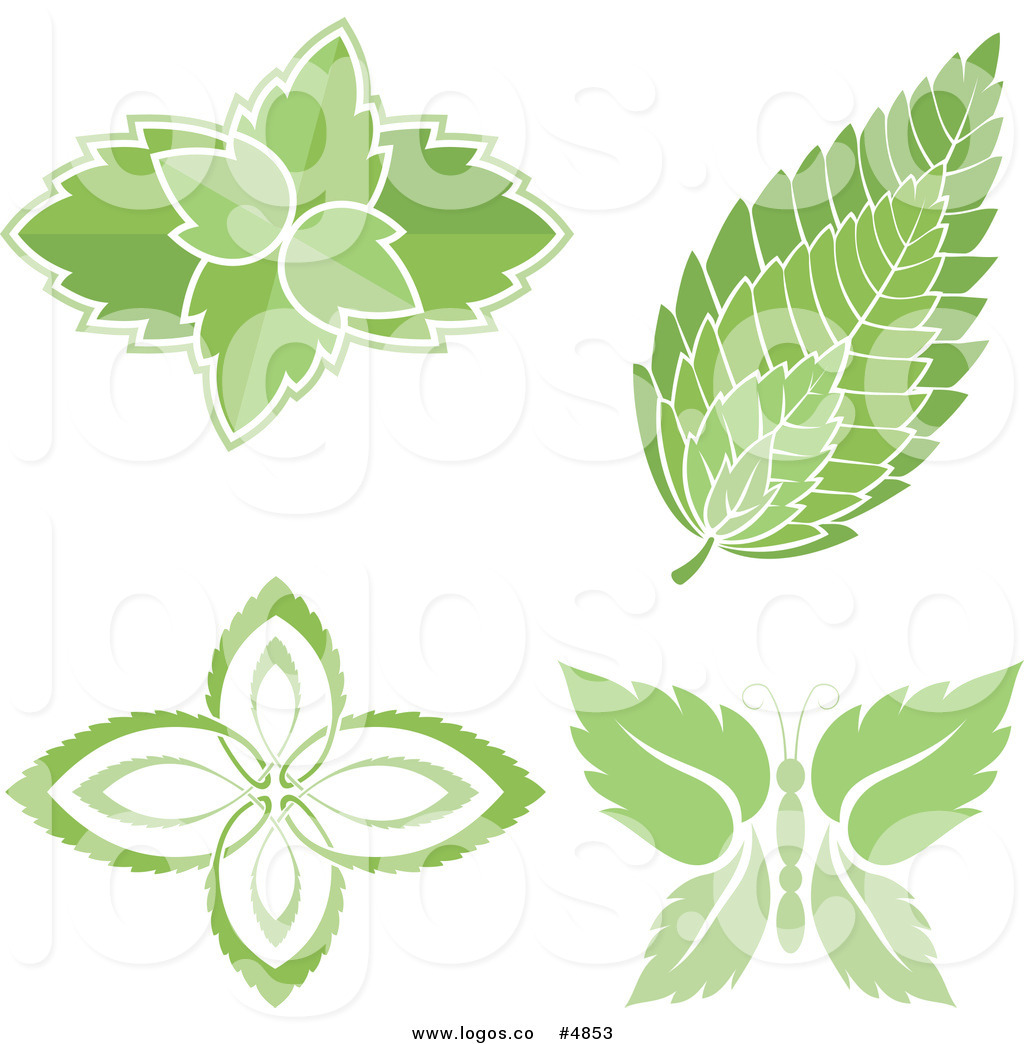 Mint logo clipart picture free download Royalty Free Vector of Mint Leaf Logos by Any Vector - #4853 picture free download