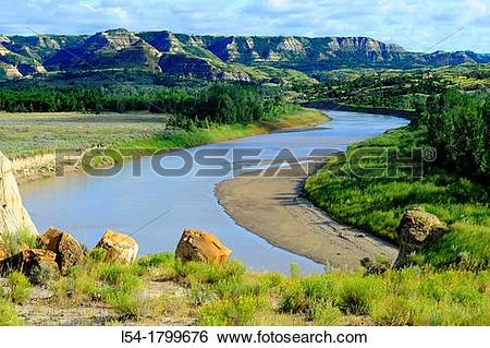 Misouri river water clipart banner free library Stock Images of Little Missouri River Theodore Roosevelt National ... banner free library