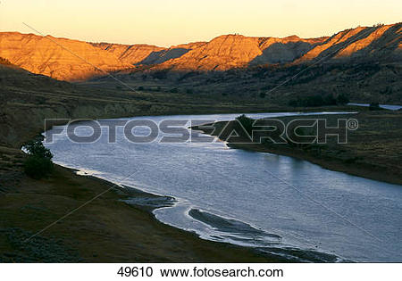 Misouri river water clipart jpg black and white stock Stock Photography of River with mountains at dusk, Upper Missouri ... jpg black and white stock