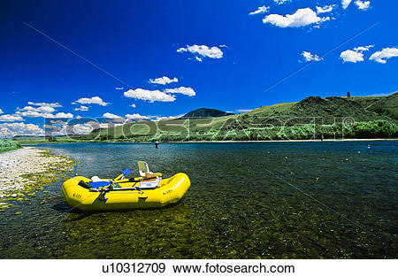 Misouri river water clipart png black and white stock Stock Photograph of Man fly fishing with raft, Missouri River ... png black and white stock