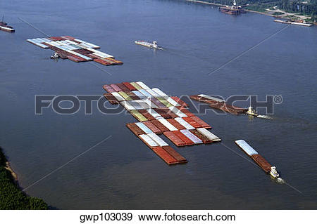 Mississippi river water clipart banner black and white library Stock Photograph of Aerial view of grain barges on the river ... banner black and white library
