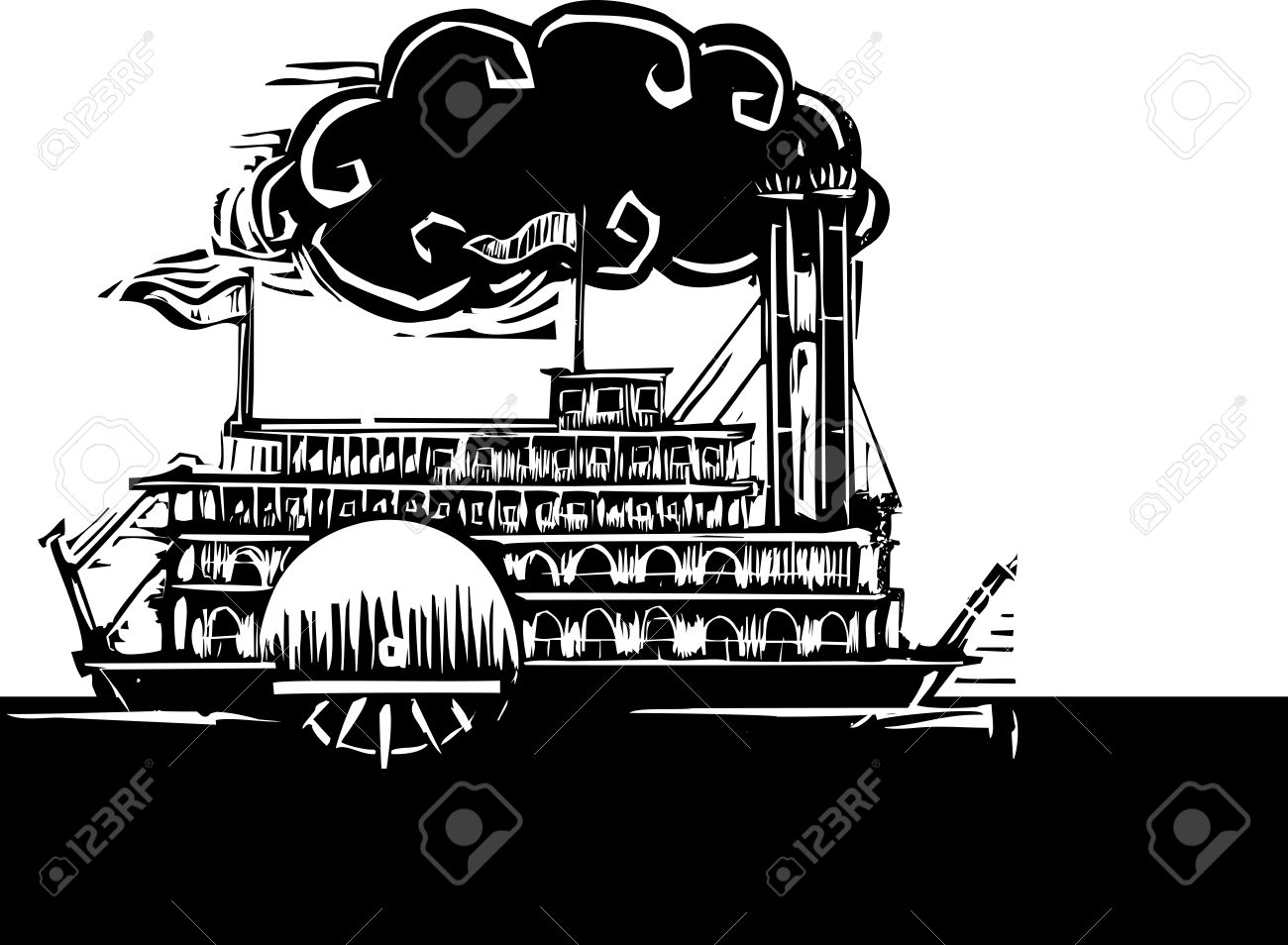 Mississippi river water clipart vector library download Woodcut Style Side Wheel Mississippi River Steamboat On Dark ... vector library download