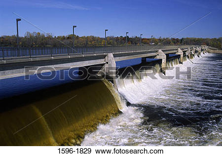 Mississippi river water clipart png transparent download Stock Photograph of Water falling from a dam, Coon Rapids Dam ... png transparent download