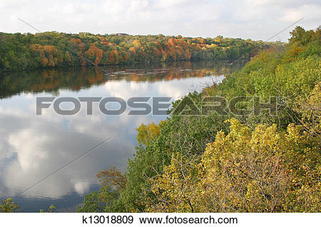 Mississippi river water clipart vector transparent library Stock Photograph of Mississippi river with fall color in ... vector transparent library