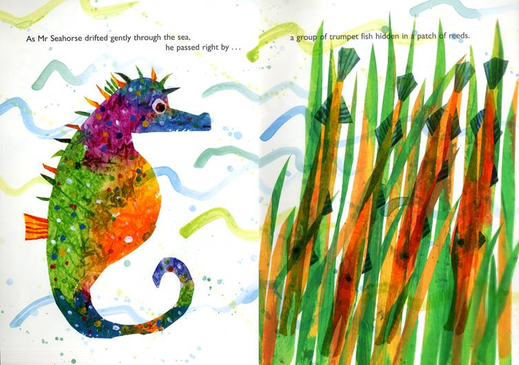 Mister seahorse eric carle black and white clipart svg black and white library Eric Carle-Inspired Watercolor Seahorse Collage svg black and white library