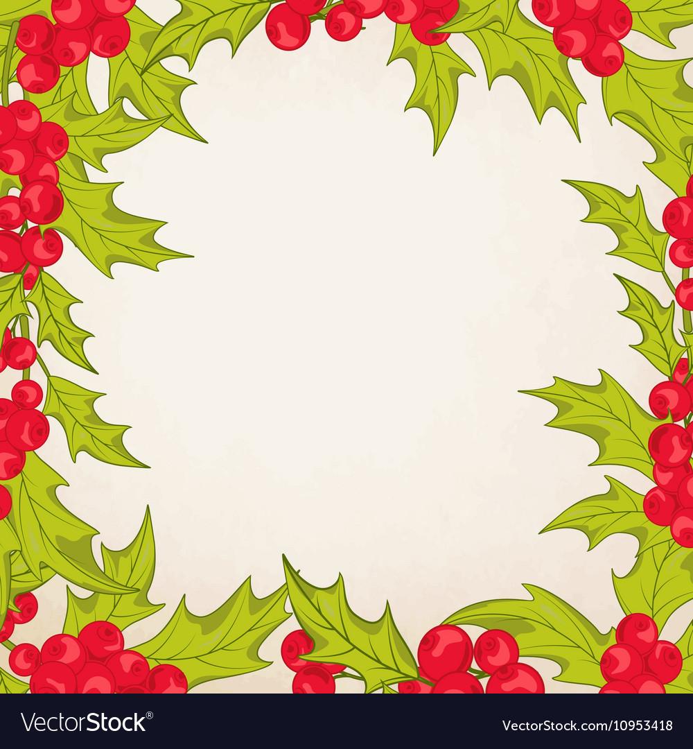 Mistletoe border clipart banner royalty free download Christmas frame border with mistletoe holly berry banner royalty free download