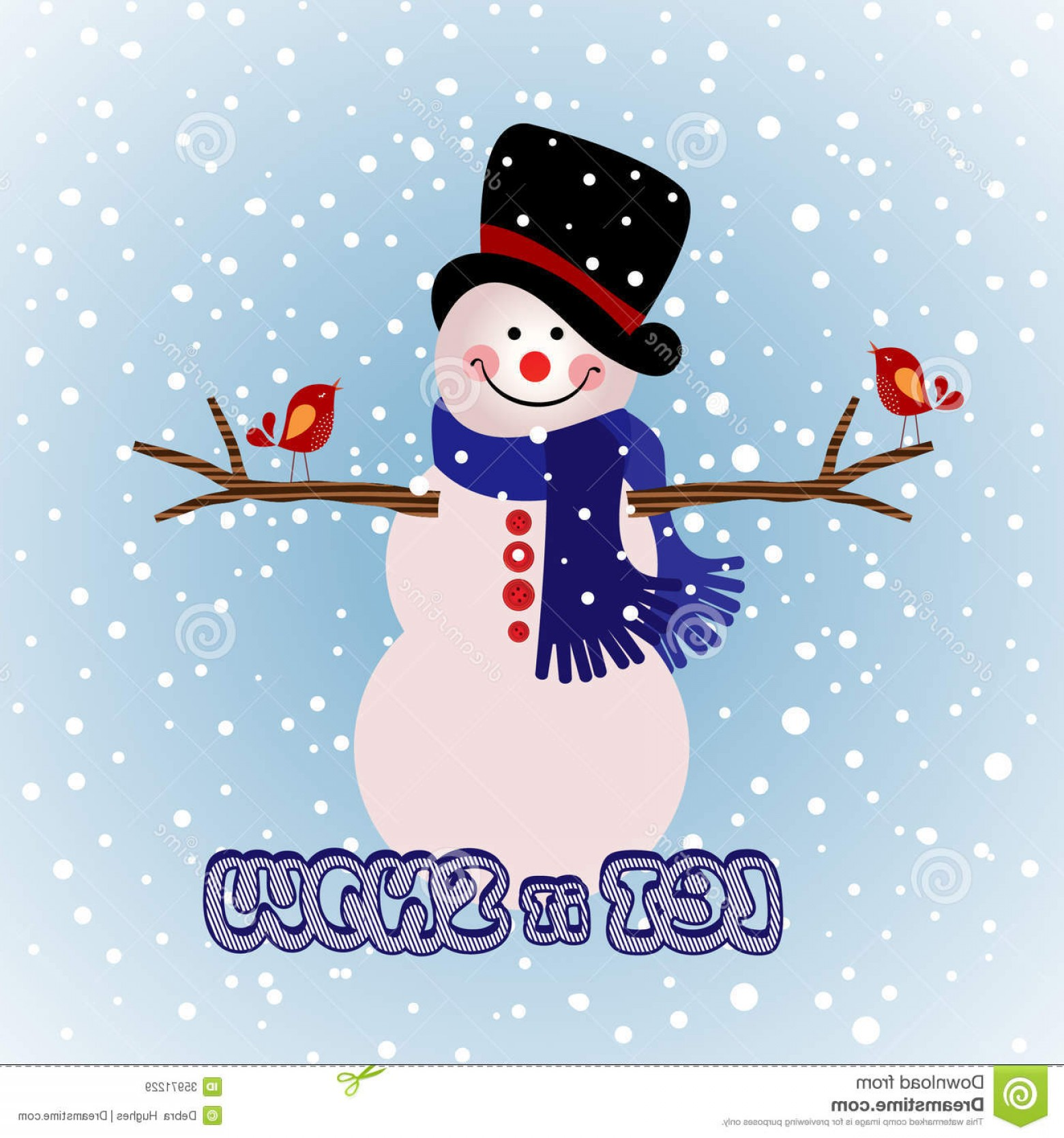 Mittens and snowman hat clipart whimsical image royalty free Royalty Free Stock Images Winter Snowman Arms Out Birds ... image royalty free