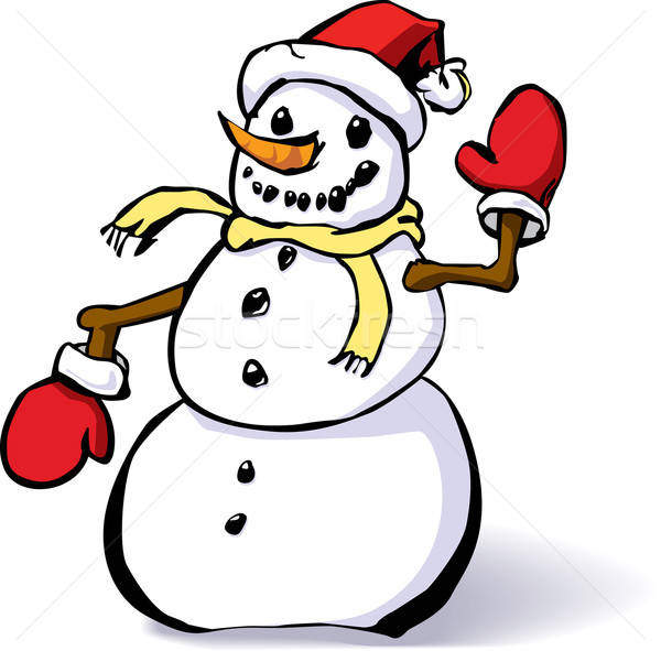Mittens and snowman hat clipart whimsical vector library download Snowman with mittens and a hat vector illustration © Paul ... vector library download