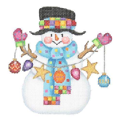 Mittens and snowman hat clipart whimsical stock Snowman Needlepoint Canvases | Burnett & Bradley stock