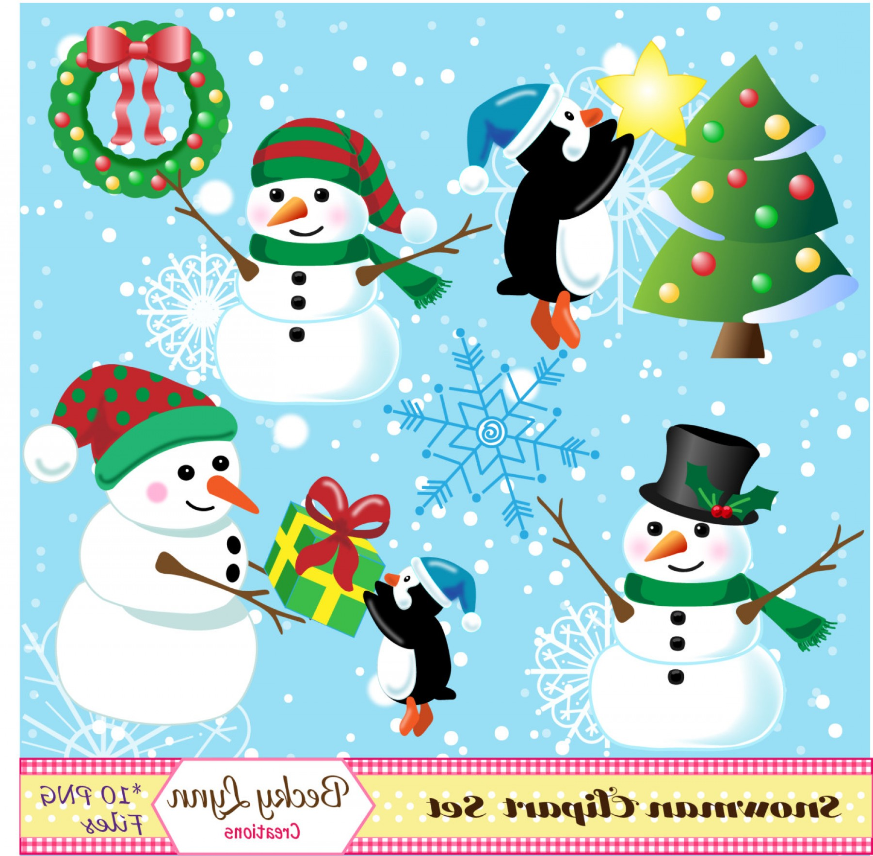 Mittens and snowman hat clipart whimsical picture transparent library Winter Clip Art Set Christmas Clip Art | SOIDERGI picture transparent library