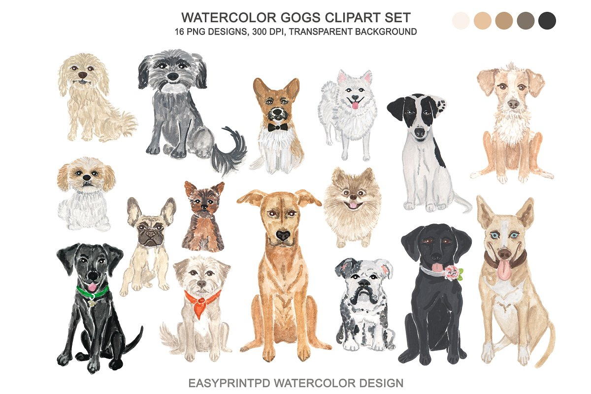 Mixed breed dog clipart svg download Dog Breeds Clipart Watercolor svg download