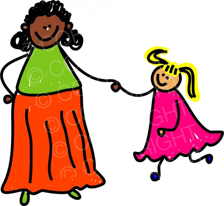 Mixed race mothers and their children clipart png library stock Happy Cartoon Mixed Race Mother and Daughter Toddler Art ... png library stock