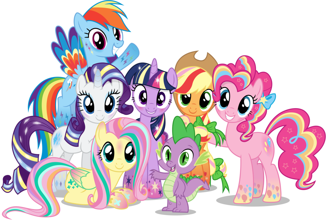 Mlp mane 6 clipart png black and white MLP Mane 6: With My Best Friends (rainbow power) | My Little ... png black and white