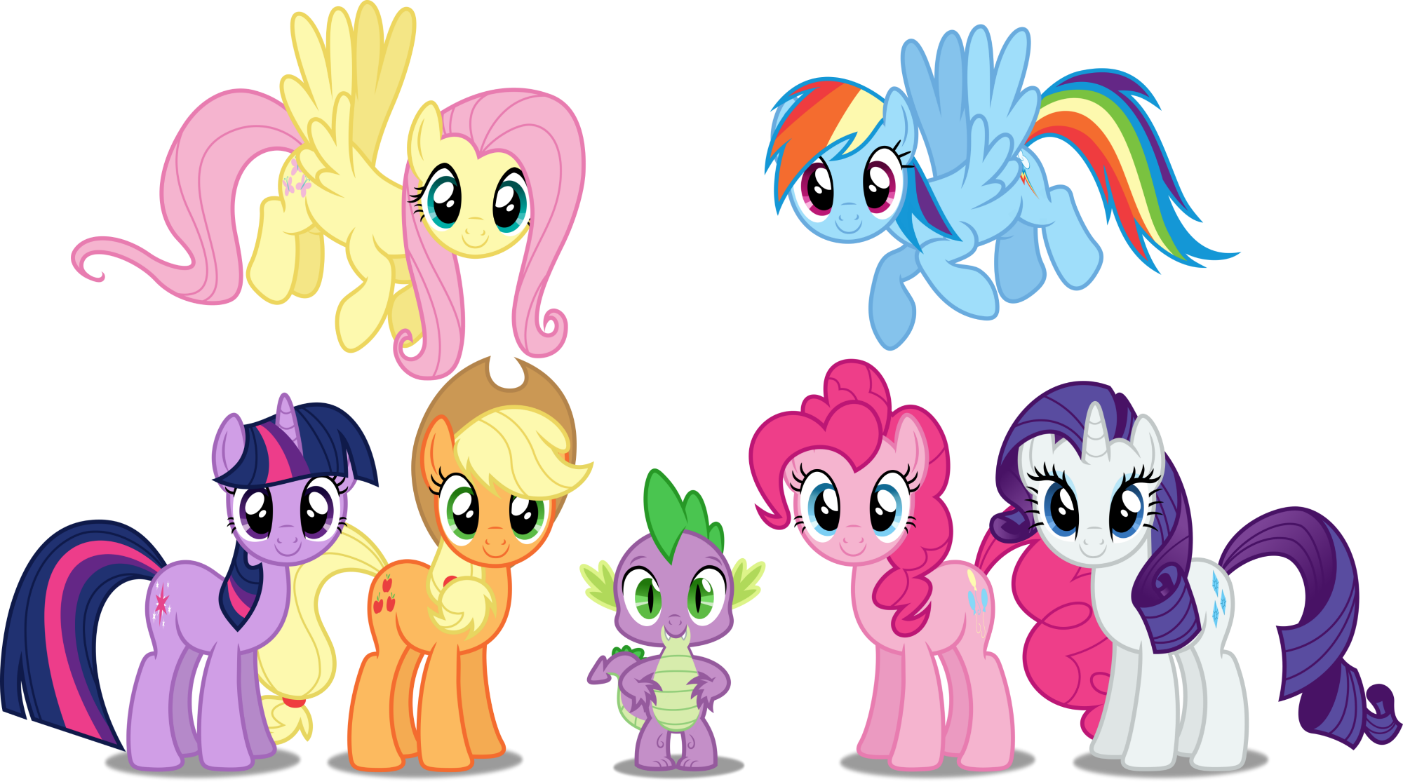 Mlp mane 6 clipart clipart royalty free MLP - Mane 6 with Spike Group Shot by dashiesparkle ... clipart royalty free